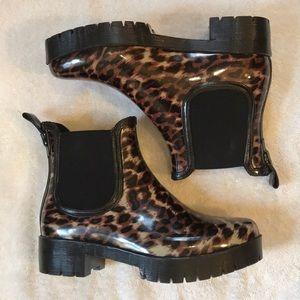 Jeffrey Campbell Rain Boots in Cheetah 7 NWO Box